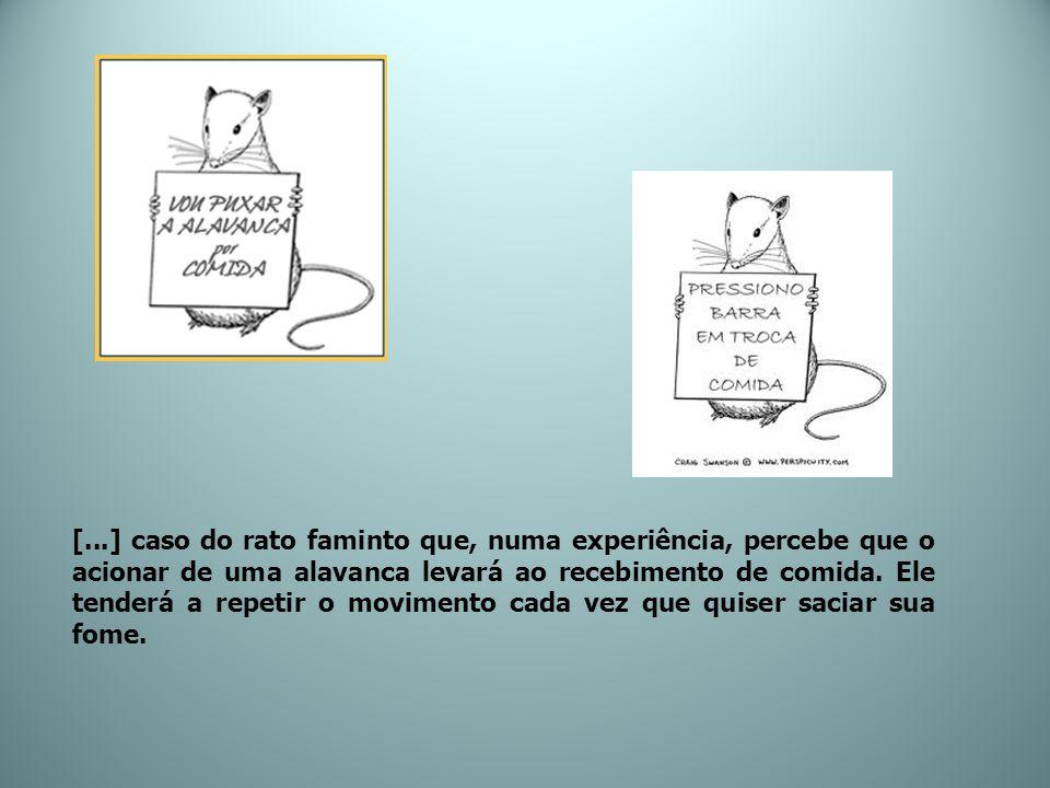 [...] caso do rato faminto que, numa experiência, percebe que o acionar de uma alavanca levará ao recebimento de comida.